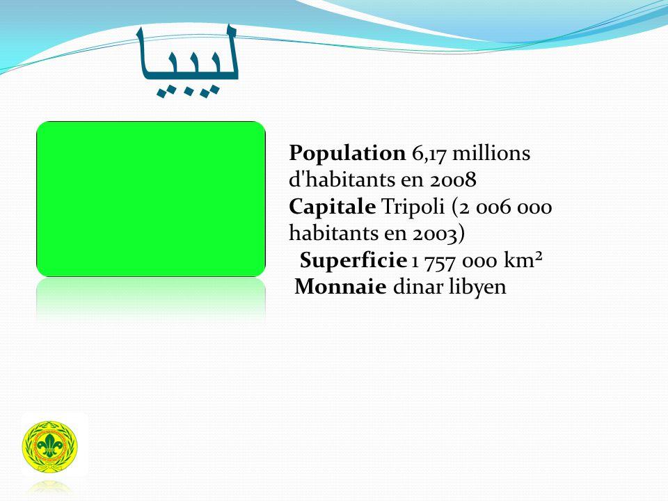 ليبيا Population 6,17 millions d'habitants en 2008 Capitale Tripoli (2 006 000 habitants en 2003) Superficie 1 757 000 km² Monnaie dinar libyen