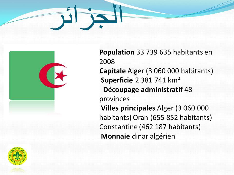 الجزائر Population 33 739 635 habitants en 2008 Capitale Alger (3 060 000 habitants) Superficie 2 381 741 km² Découpage administratif 48 provinces Villes principales Alger (3 060 000 habitants) Oran (655 852 habitants) Constantine (462 187 habitants) Monnaie dinar algérien