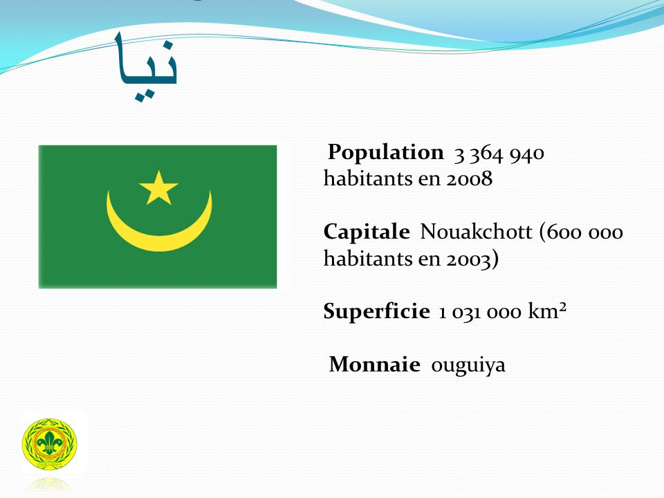 موريتا نيا Population 3 364 940 habitants en 2008 Capitale Nouakchott (600 000 habitants en 2003) Superficie 1 031 000 km² Monnaie ouguiya