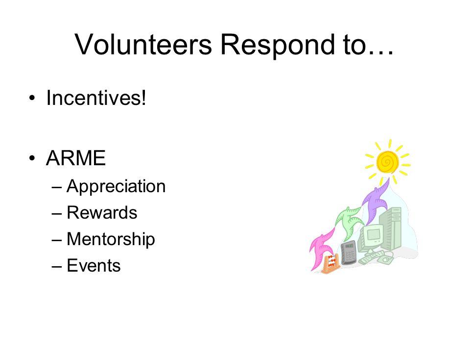 Volunteers Respond to… Incentives! ARME –Appreciation –Rewards –Mentorship –Events