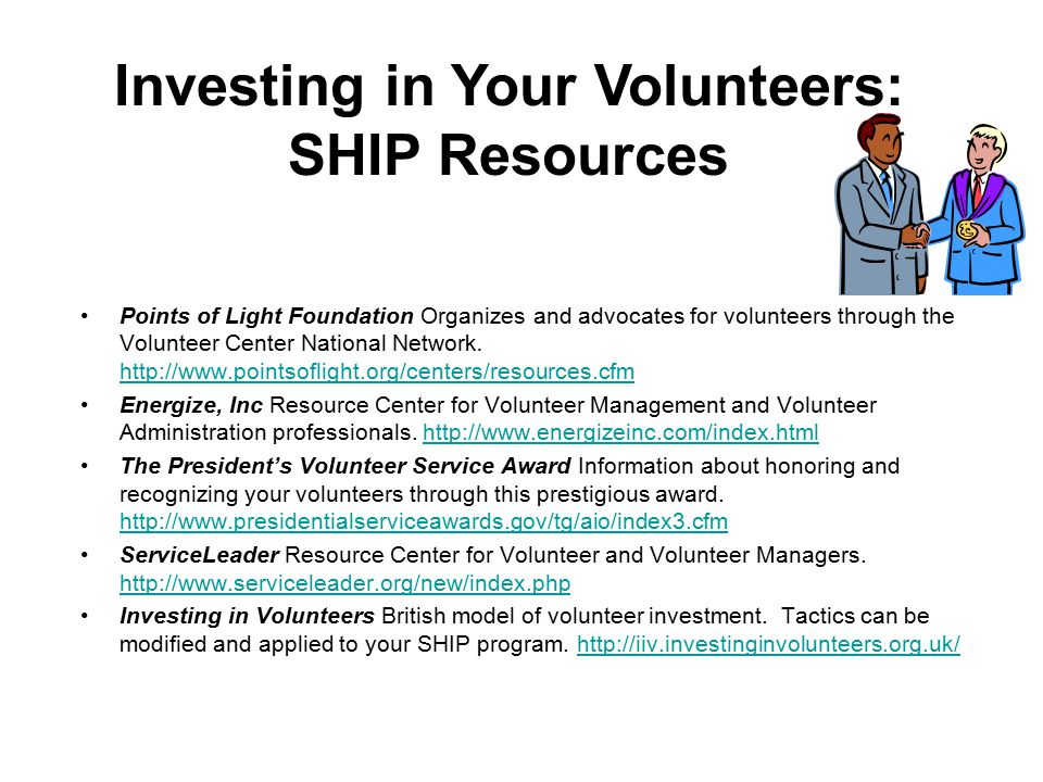 Points of Light Foundation Organizes and advocates for volunteers through the Volunteer Center National Network.