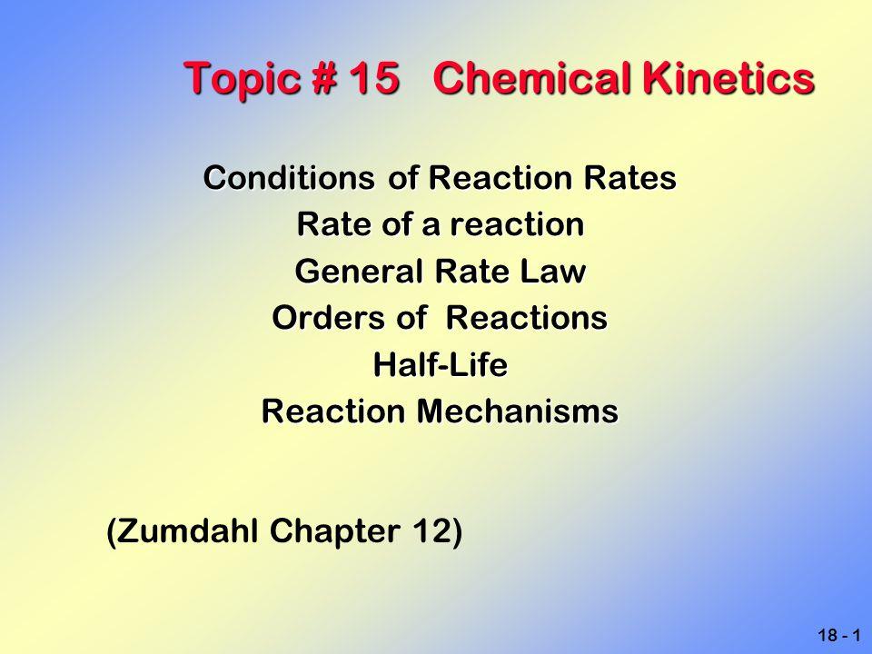 18 - 12 An example reaction Gas buret Constant temperature bath