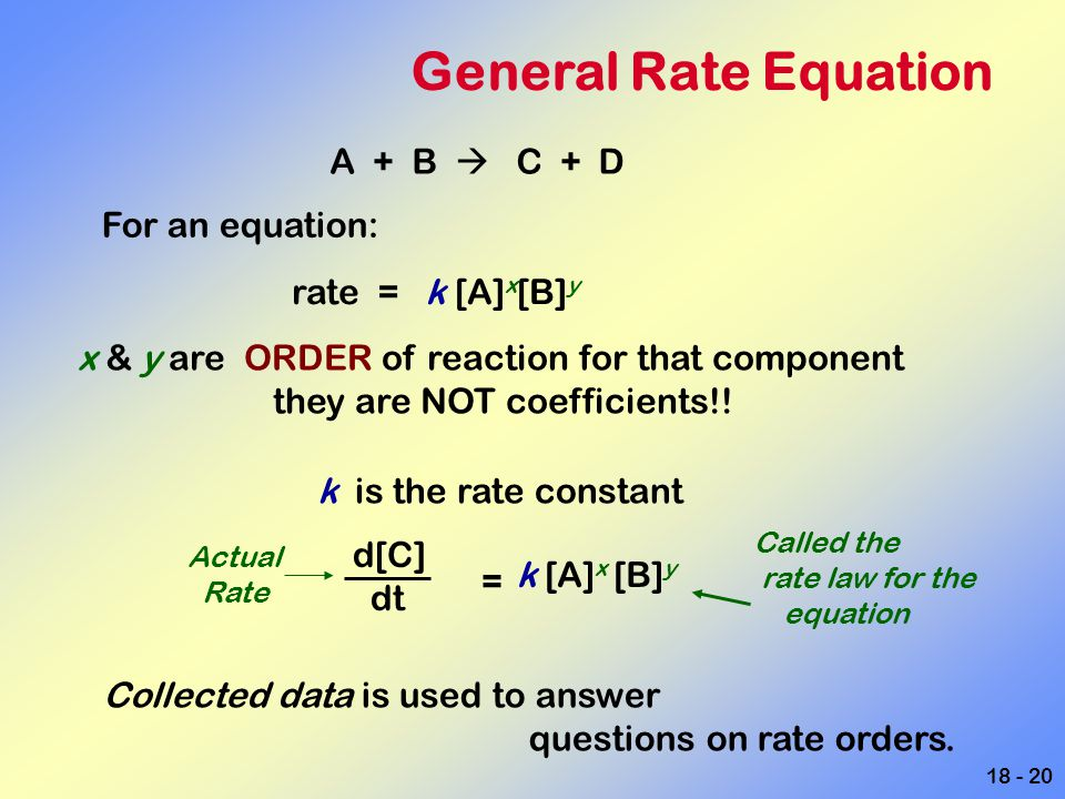 18 - 20 General Rate Equation A + B  C + D For an equation: rate = k [A] x [B] y x & y are ORDER of reaction for that component they are NOT coeffici