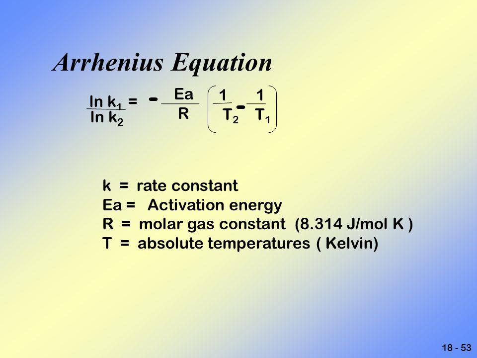 18 - 53 Arrhenius Equation ln k 1 = - Ea R 1 1 T 2 T 1 - k = rate constant Ea = Activation energy R = molar gas constant (8.314 J/mol K ) T = absolute