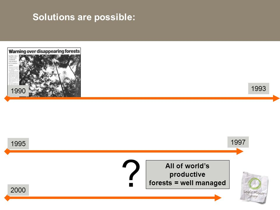 Solutions are possible: All of world's productive forests = well managed 1990 1993 1997 1995 2000 ?