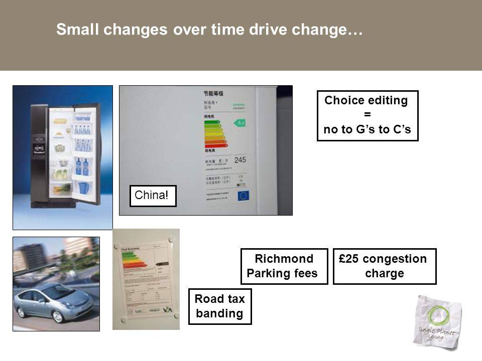Small changes over time drive change… Choice editing = no to G's to C's Richmond Parking fees Road tax banding China.