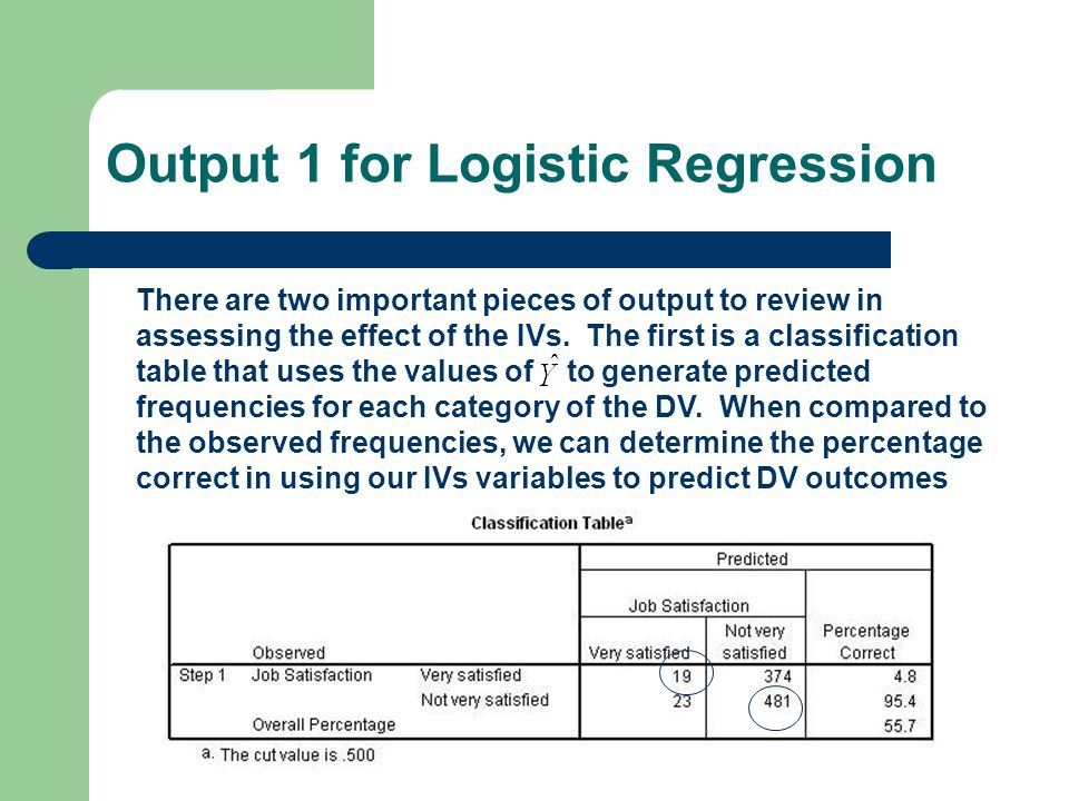 Output 1 for Logistic Regression There are two important pieces of output to review in assessing the effect of the IVs.