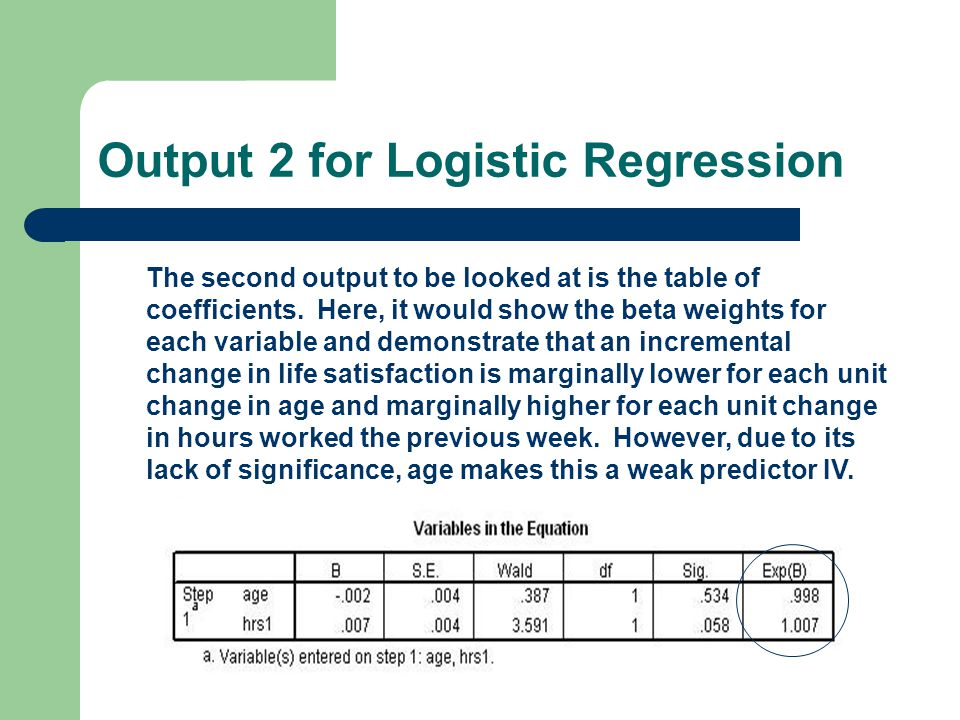 Output 2 for Logistic Regression The second output to be looked at is the table of coefficients.