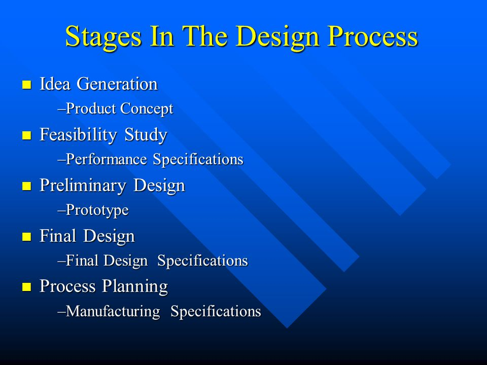 Stages In The Design Process Idea Generation Idea Generation –Product Concept Feasibility Study Feasibility Study –Performance Specifications Preliminary Design Preliminary Design –Prototype Final Design Final Design –Final Design Specifications Process Planning Process Planning –Manufacturing Specifications