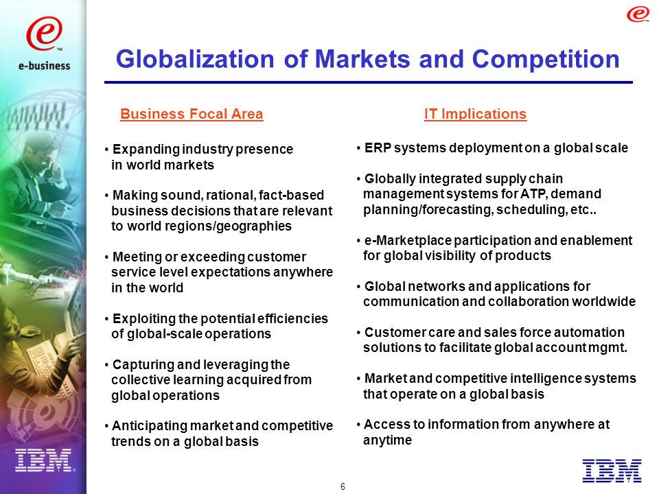 6 Globalization of Markets and Competition Expanding industry presence in world markets Making sound, rational, fact-based business decisions that are relevant to world regions/geographies Meeting or exceeding customer service level expectations anywhere in the world Exploiting the potential efficiencies of global-scale operations Capturing and leveraging the collective learning acquired from global operations Anticipating market and competitive trends on a global basis ERP systems deployment on a global scale Globally integrated supply chain management systems for ATP, demand planning/forecasting, scheduling, etc..