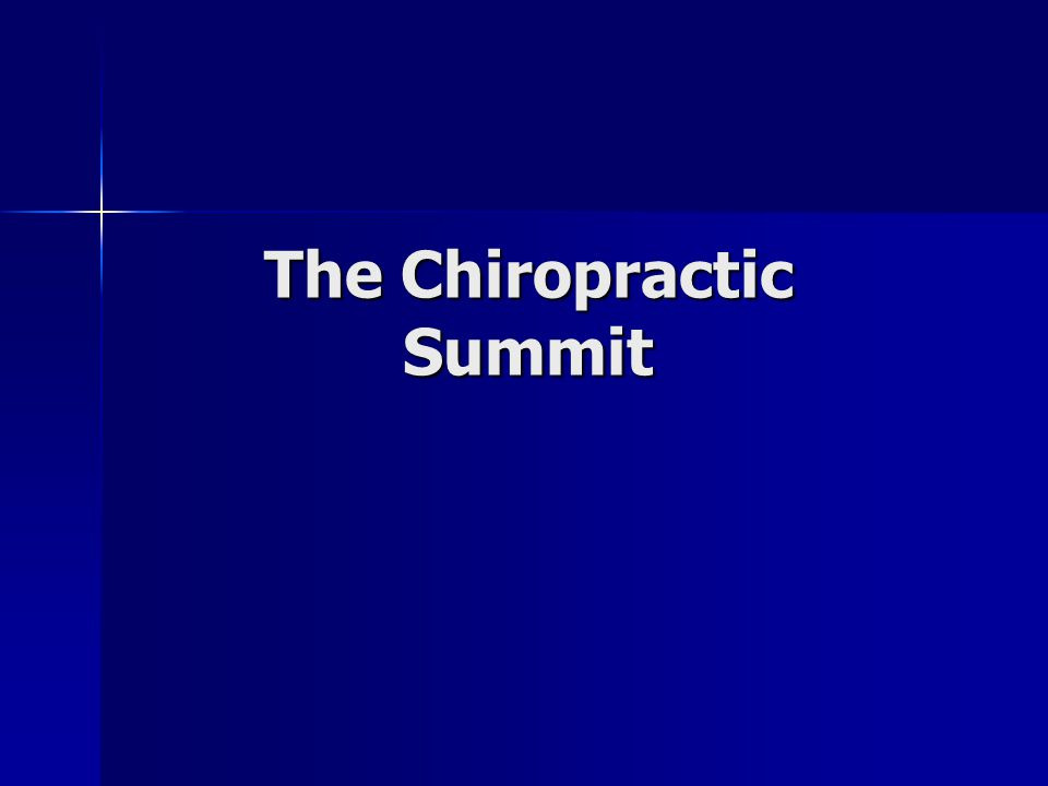 Chiropractic Summit Summit I was held in September 2007; attended by 13 chiropractic organizations; The Chiropractic Summit now has 37 members.