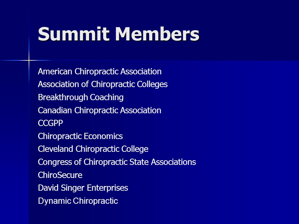 Summit Members American Chiropractic Association Association of Chiropractic Colleges Breakthrough Coaching Canadian Chiropractic Association CCGPP Ch