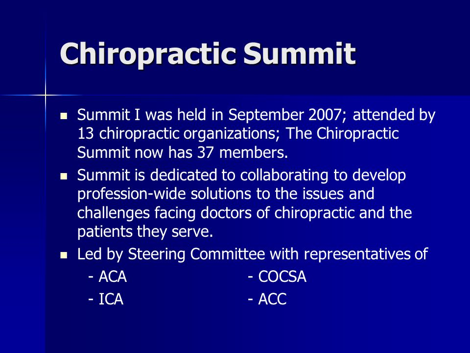 Chiropractic Summit Summit I was held in September 2007; attended by 13 chiropractic organizations; The Chiropractic Summit now has 37 members. Summit