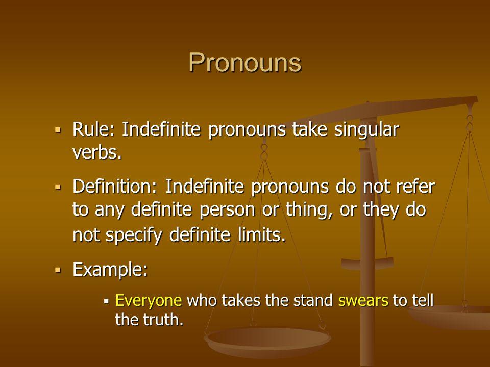 Pronouns  Rule: Indefinite pronouns take singular verbs.