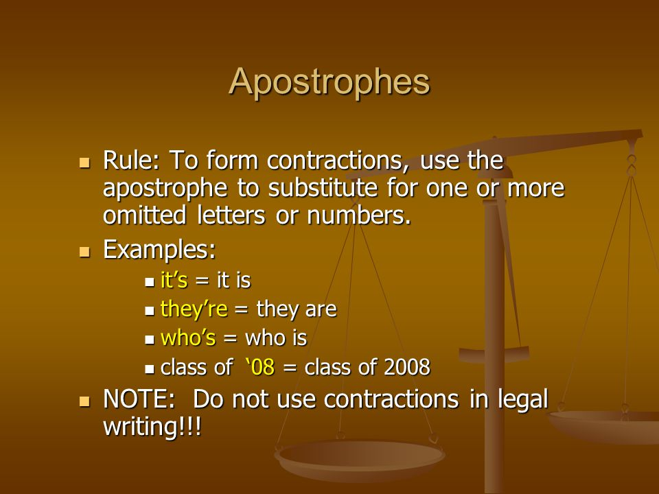 Rule: To form contractions, use the apostrophe to substitute for one or more omitted letters or numbers.