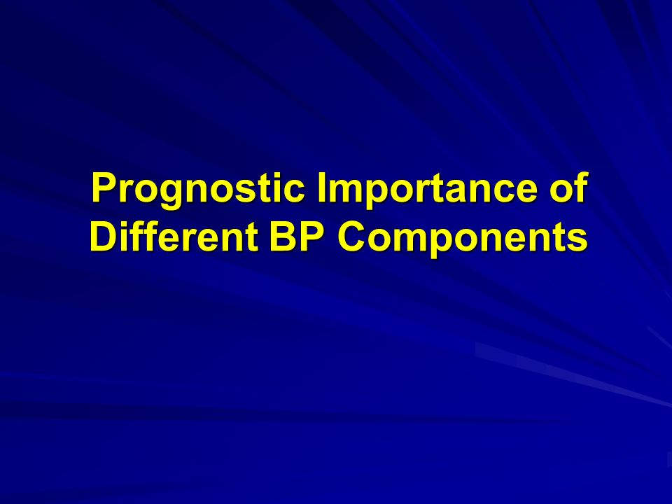 Prognostic Importance of Different BP Components