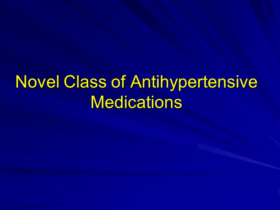 Novel Class of Antihypertensive Medications