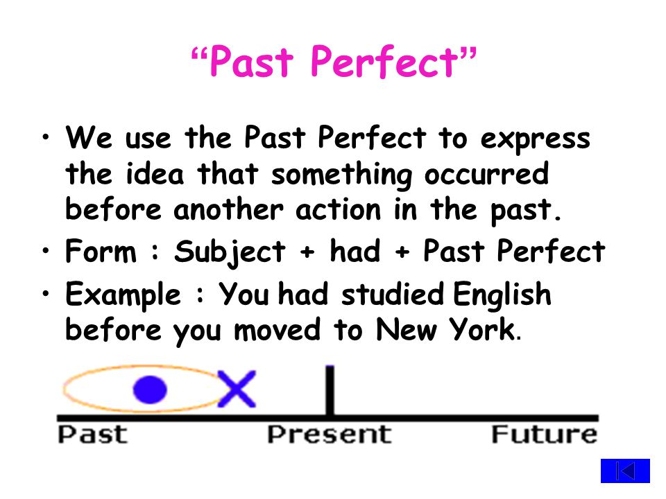 """ Present Perfect "" We often use the Present Perfect for past action that affect the present. Form : Subject + have \ has + Past Perfect Example : I t"