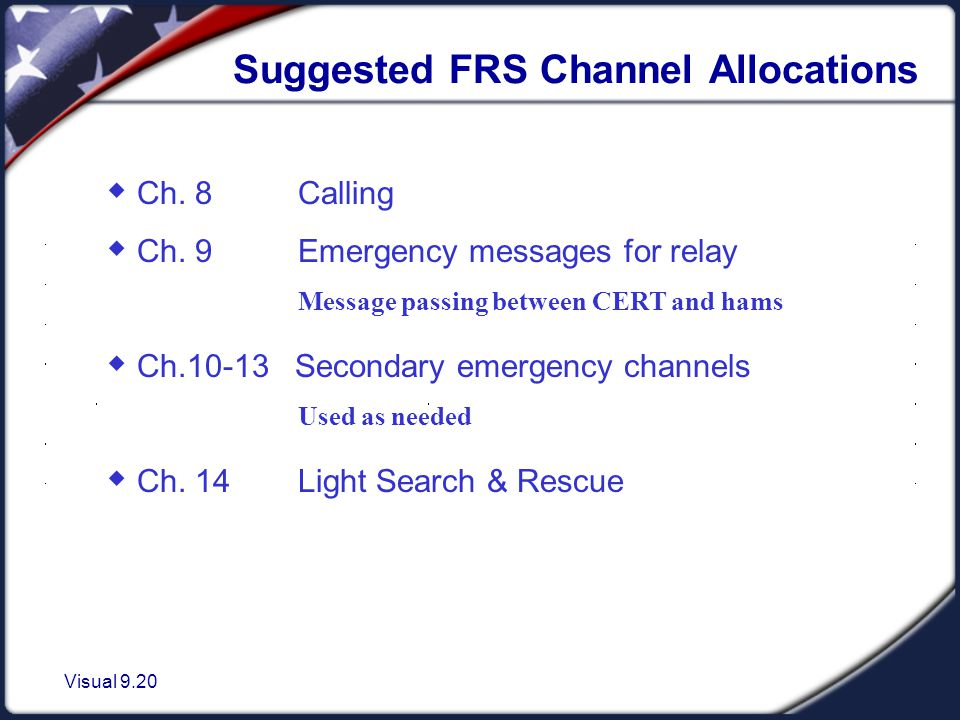 Visual 9.20 Suggested FRS Channel Allocations  Ch.