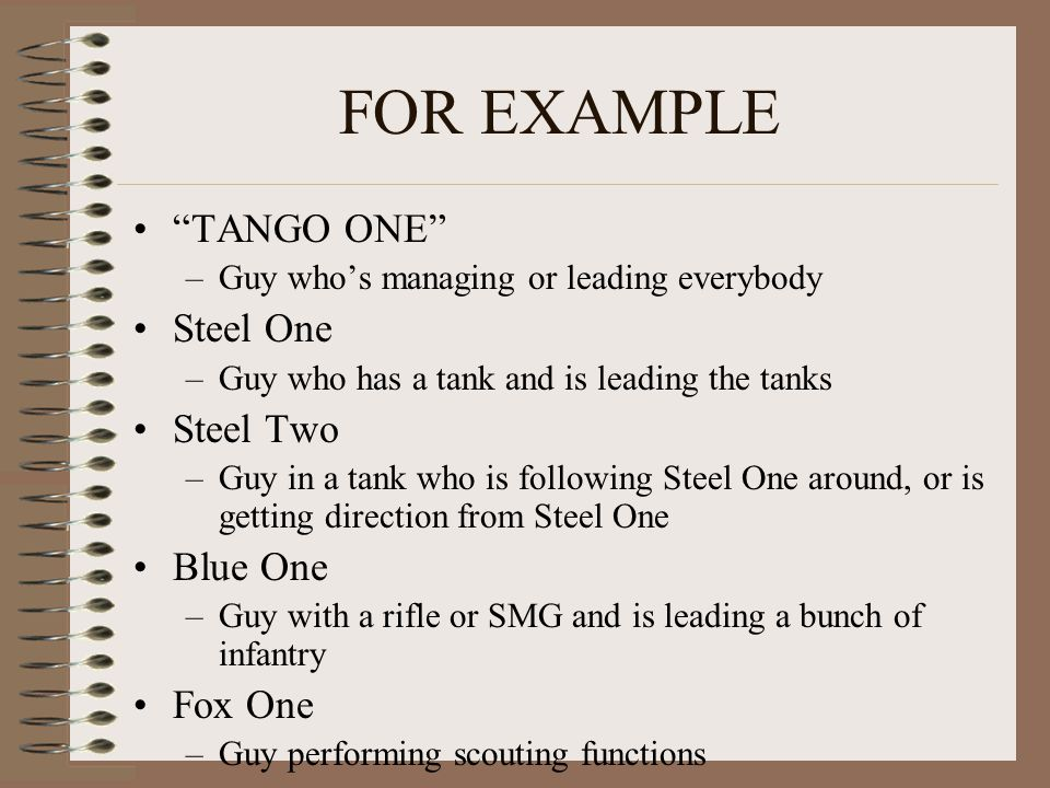 "FOR EXAMPLE ""TANGO ONE"" –Guy who's managing or leading everybody Steel One –Guy who has a tank and is leading the tanks Steel Two –Guy in a tank who i"