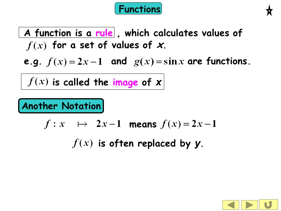 Functions x x --               A few of the possible values of x        --   --     We can illustrate a function with a diagram The rule is sometimes called a mapping.