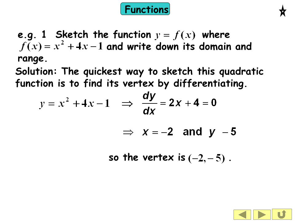 Functions Solution: The quickest way to sketch this quadratic function is to find its vertex by differentiating. e.g. 1 Sketch the function where and