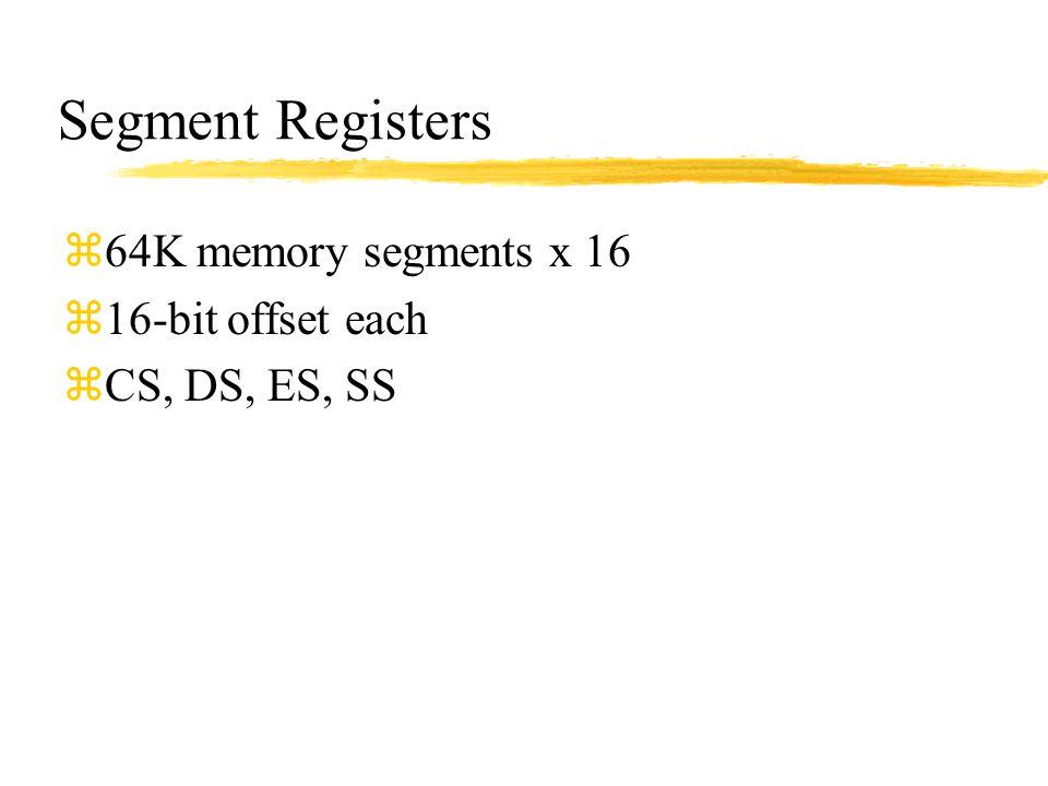 Segment Registers z64K memory segments x 16 z16-bit offset each zCS, DS, ES, SS