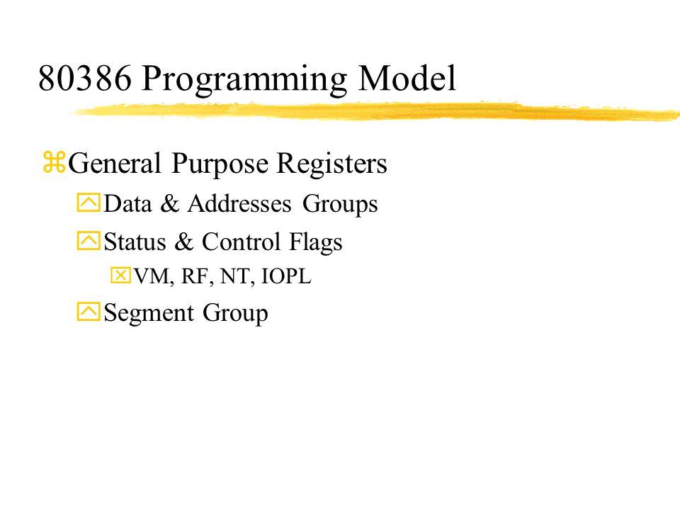 80386 Programming Model zGeneral Purpose Registers yData & Addresses Groups yStatus & Control Flags xVM, RF, NT, IOPL ySegment Group