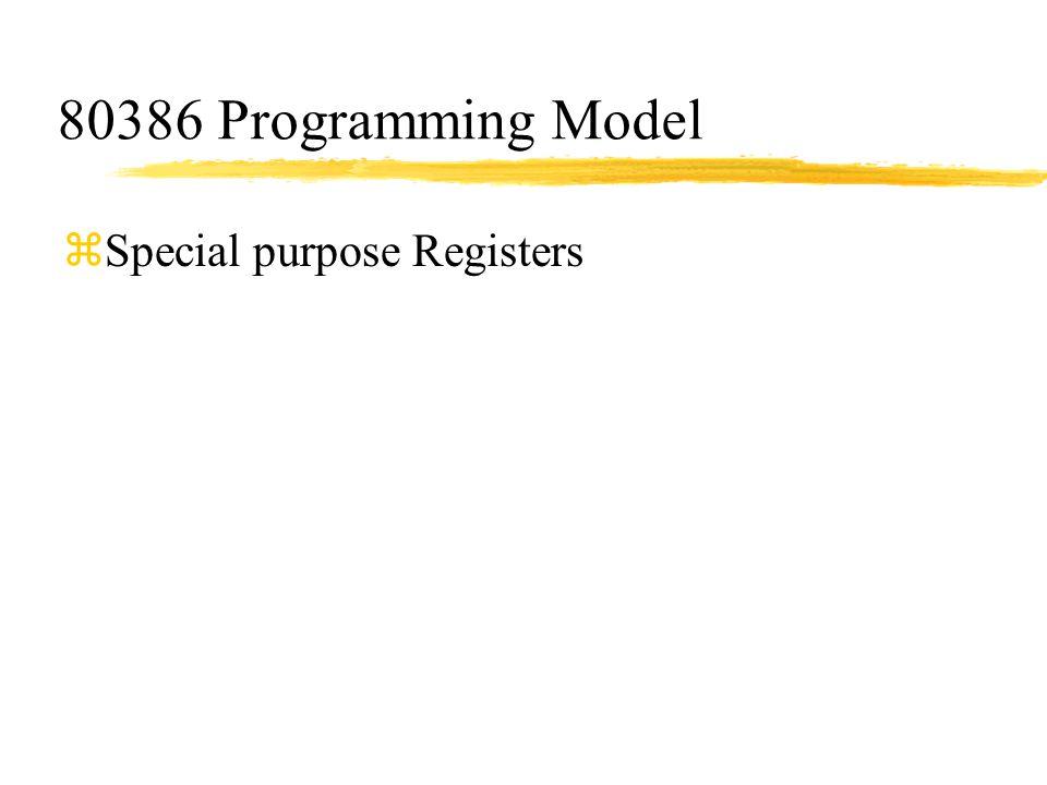 80386 Programming Model zSpecial purpose Registers