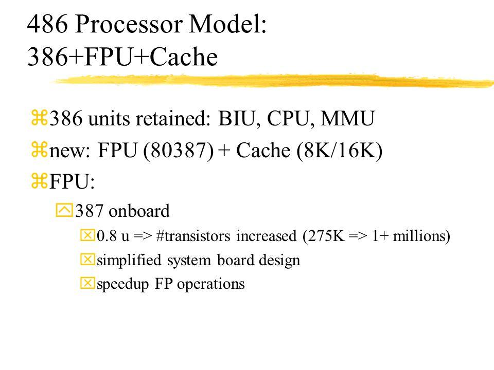 486 Processor Model: 386+FPU+Cache z386 units retained: BIU, CPU, MMU znew: FPU (80387) + Cache (8K/16K) zFPU: y387 onboard x0.8 u => #transistors inc