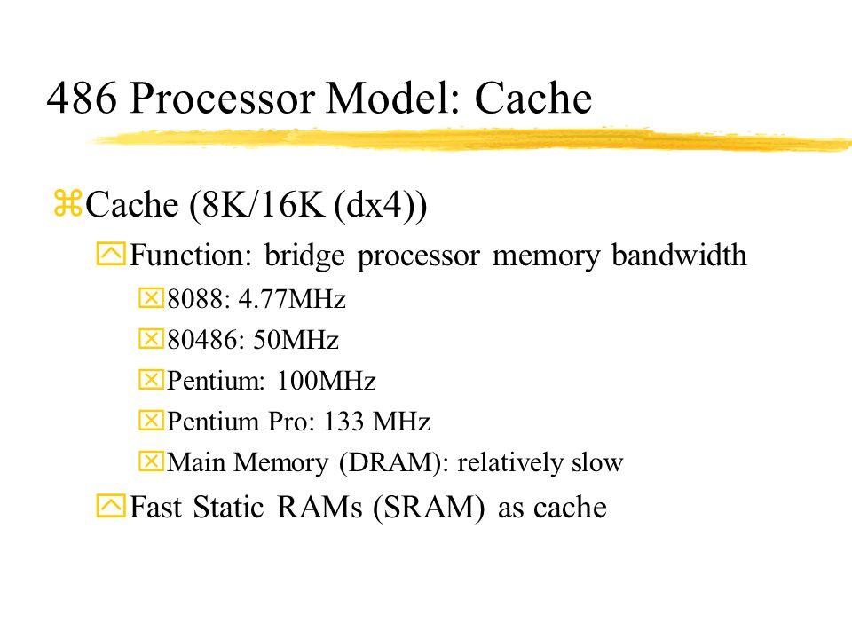 486 Processor Model: Cache zCache (8K/16K (dx4)) yFunction: bridge processor memory bandwidth x8088: 4.77MHz x80486: 50MHz xPentium: 100MHz xPentium P