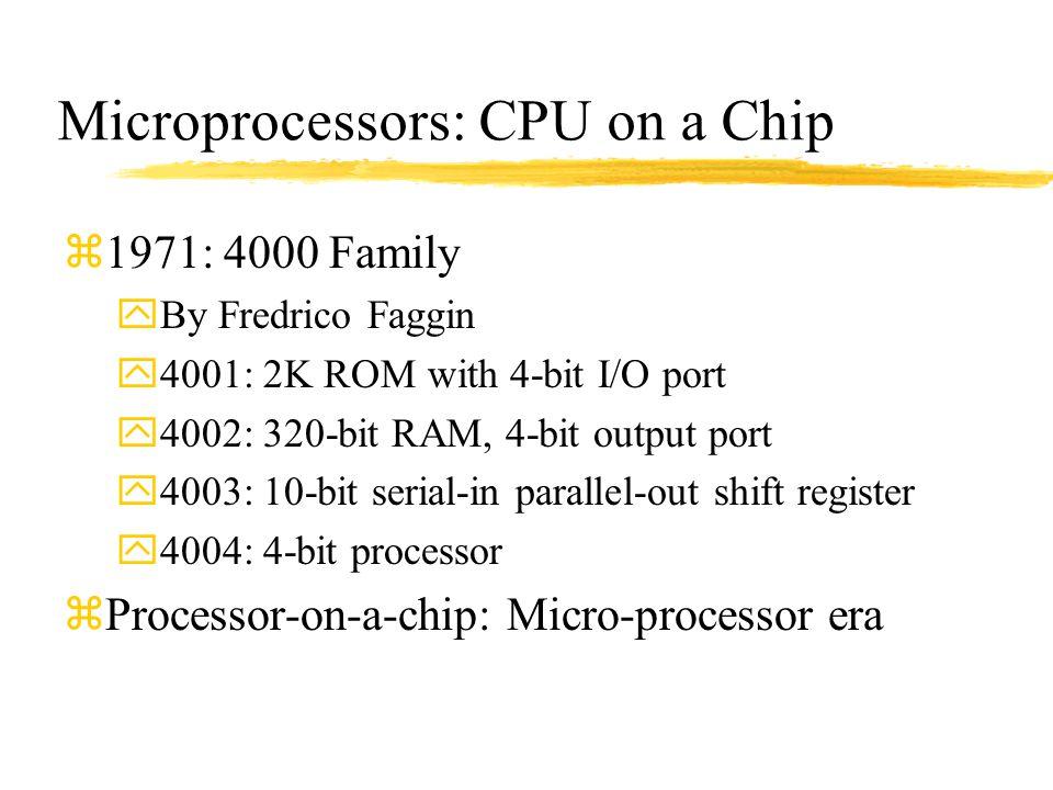 Microprocessors: CPU on a Chip z1971: 4000 Family yBy Fredrico Faggin y4001: 2K ROM with 4-bit I/O port y4002: 320-bit RAM, 4-bit output port y4003: 1