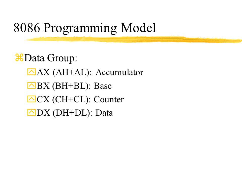 8086 Programming Model zData Group: yAX (AH+AL): Accumulator yBX (BH+BL): Base yCX (CH+CL): Counter yDX (DH+DL): Data