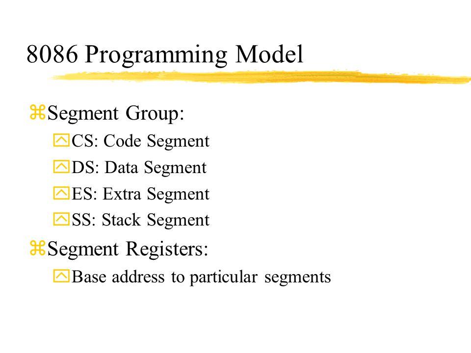 8086 Programming Model zSegment Group: yCS: Code Segment yDS: Data Segment yES: Extra Segment ySS: Stack Segment zSegment Registers: yBase address to