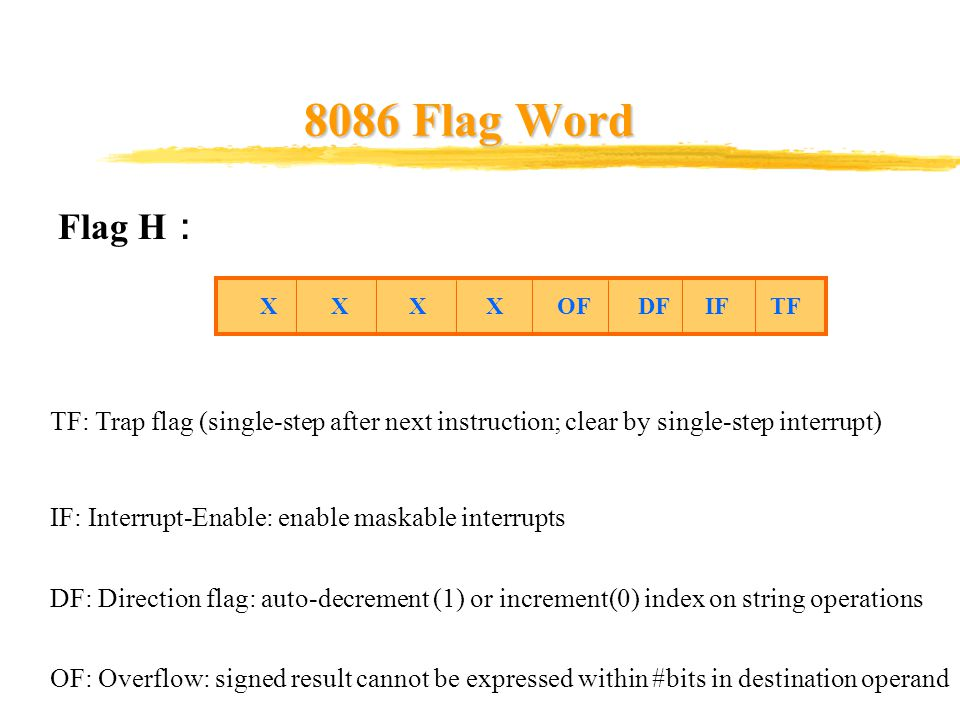 8086 Flag Word Flag H : X X X X OF DF IF TF TF: Trap flag (single-step after next instruction; clear by single-step interrupt) IF: Interrupt-Enable: e