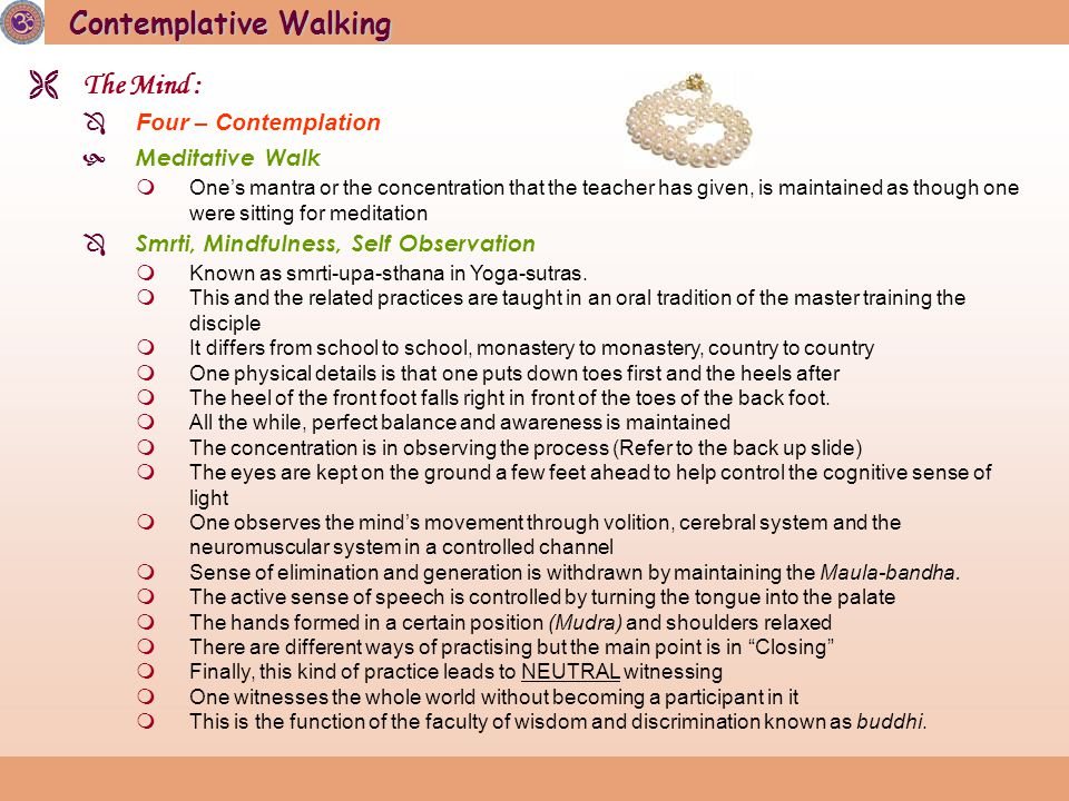 Contemplative Walking  The Mind :  Four – Contemplation  Meditative Walk  One's mantra or the concentration that the teacher has given, is maintained as though one were sitting for meditation  Smrti, Mindfulness, Self Observation  Known as smrti-upa-sthana in Yoga-sutras.