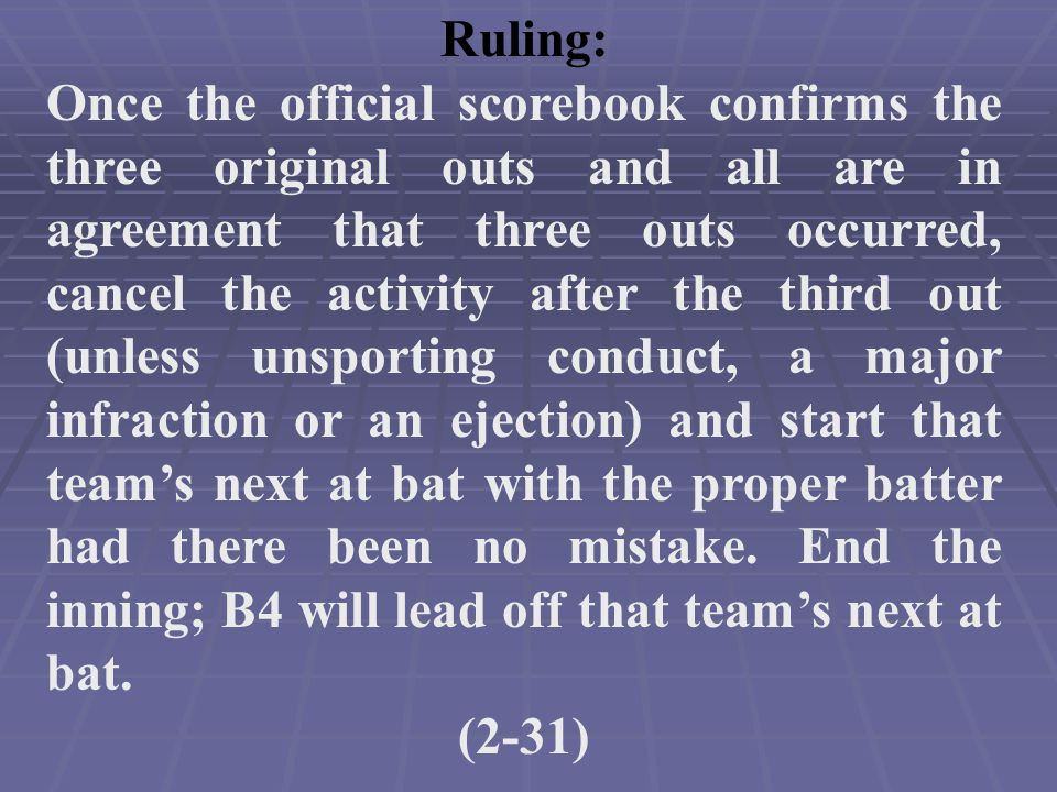 Ruling: Once the official scorebook confirms the three original outs and all are in agreement that three outs occurred, cancel the activity after the third out (unless unsporting conduct, a major infraction or an ejection) and start that team's next at bat with the proper batter had there been no mistake.