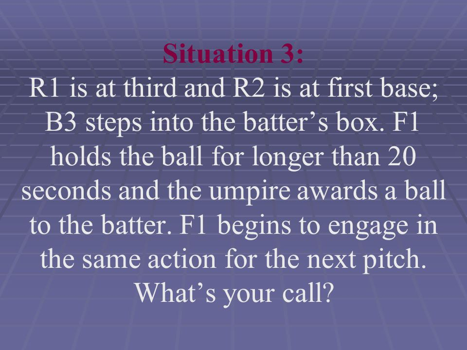 Situation 3: R1 is at third and R2 is at first base; B3 steps into the batter's box.