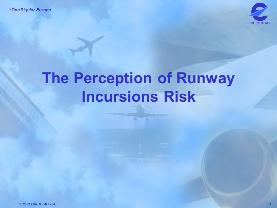 © 2002 EUROCONTROL 11 ' One Sky for Europe' EUROCONTROL The Perception of Runway Incursions Risk