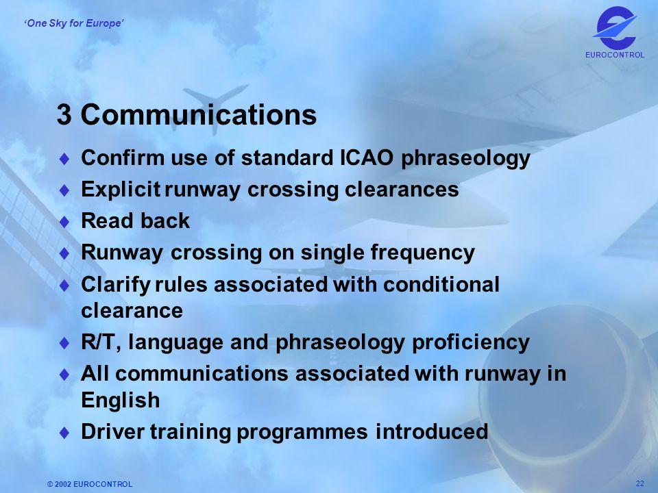 © 2002 EUROCONTROL 22 ' One Sky for Europe' EUROCONTROL 3 Communications  Confirm use of standard ICAO phraseology  Explicit runway crossing clearan