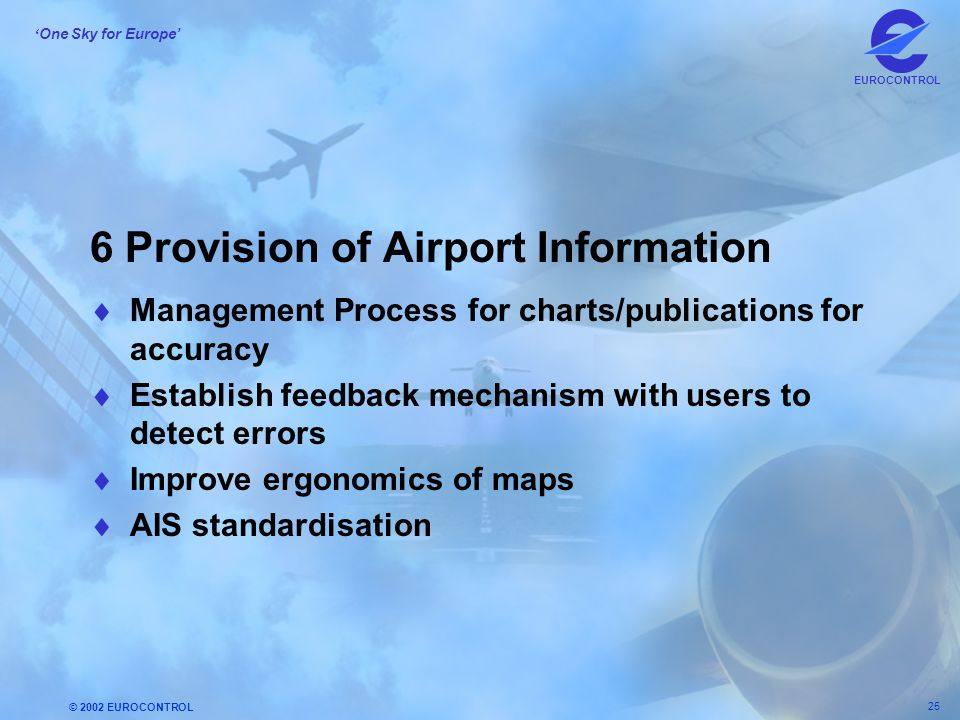 © 2002 EUROCONTROL 25 ' One Sky for Europe' EUROCONTROL 6 Provision of Airport Information  Management Process for charts/publications for accuracy 