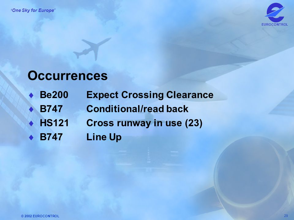 © 2002 EUROCONTROL 29 ' One Sky for Europe' EUROCONTROL Occurrences  Be200Expect Crossing Clearance  B747Conditional/read back  HS121Cross runway i