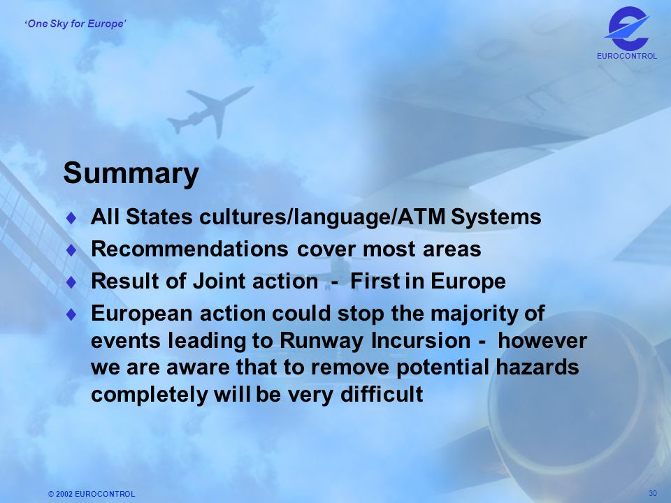 © 2002 EUROCONTROL 30 ' One Sky for Europe' EUROCONTROL Summary  All States cultures/language/ATM Systems  Recommendations cover most areas  Result