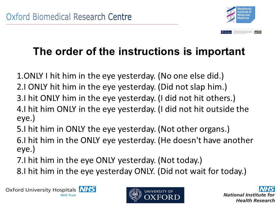 The order of the instructions is important 1.ONLY I hit him in the eye yesterday.