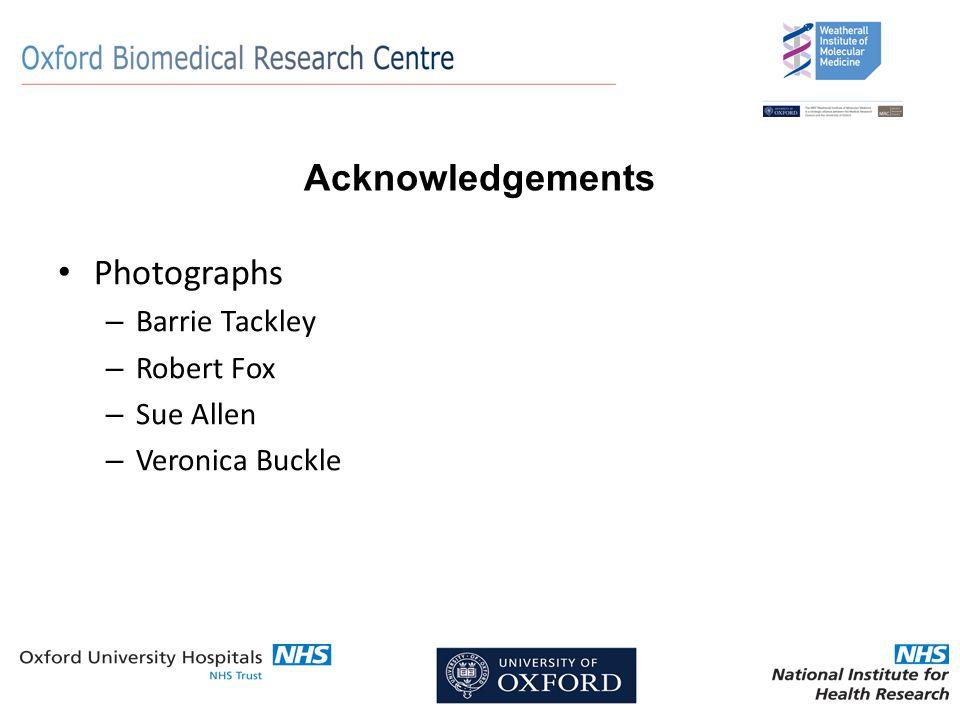 Acknowledgements Photographs – Barrie Tackley – Robert Fox – Sue Allen – Veronica Buckle