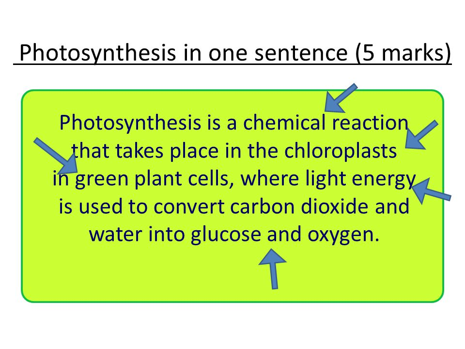 Photosynthesis in one sentence (5 marks) Photosynthesis is a chemical reaction that takes place in the chloroplasts in green plant cells, where light energy is used to convert carbon dioxide and water into glucose and oxygen.