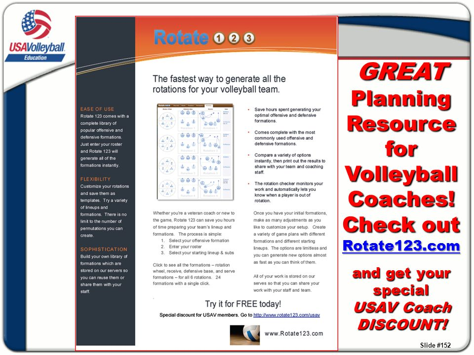 GREAT Planning Resource for Volleyball Coaches! Check out Rotate123.com and get your special USAV Coach DISCOUNT ! GREAT Planning Resource for Volleyb