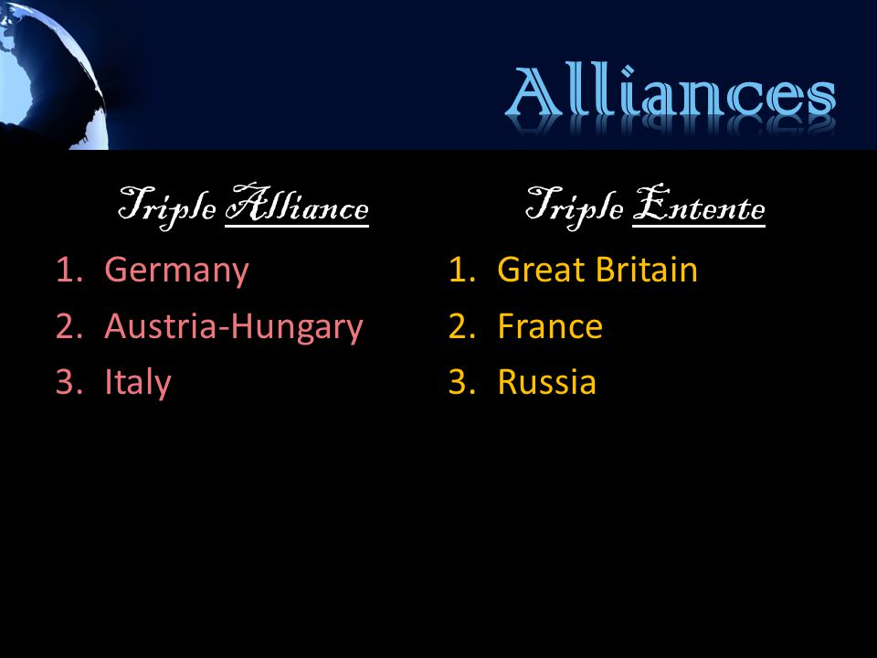 Triple Alliance 1.Germany 2.Austria-Hungary 3.Italy Triple Entente 1.Great Britain 2.France 3.Russia