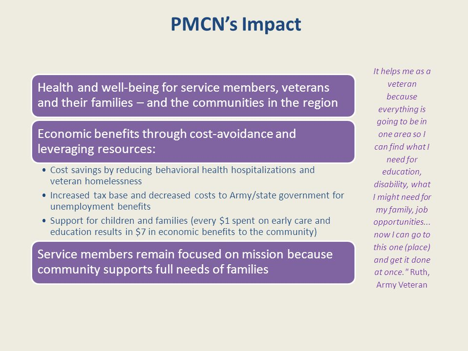 PMCN's Impact Health and well-being for service members, veterans and their families – and the communities in the region Economic benefits through cos