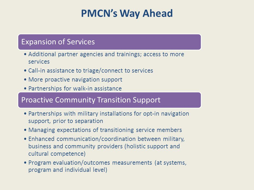 PMCN's Way Ahead Expansion of Services Additional partner agencies and trainings; access to more services Call-in assistance to triage/connect to serv